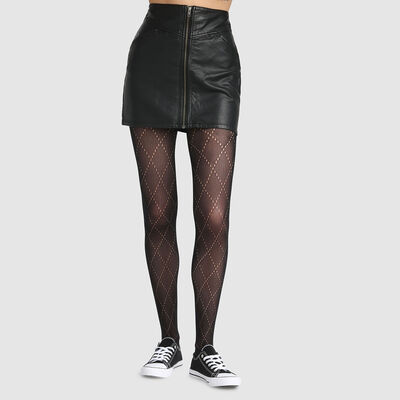Dim Style fine fishnet tights with diamond print, , DIM