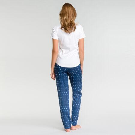 a39c9b2bf58ba Pantalon pyjama bleu marine à pois blancs - Fashion