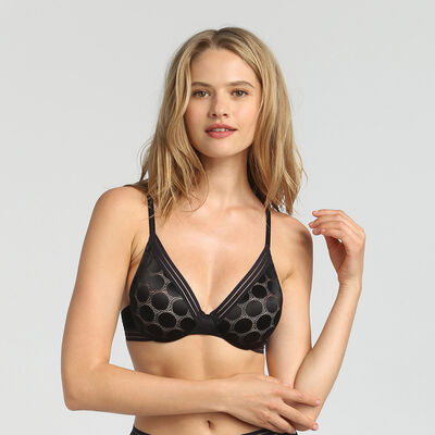 Shaping Dots black polka dot padded triangle bra, , DIM
