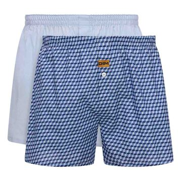 2 pack men's 100% cotton  loose boxers shorts in Sky Blue and Cube Print (, , DIM