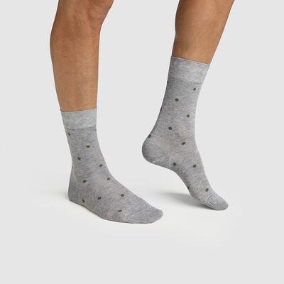 Men's Scottish thread sock with polka dots Grey Slate Made in France Dim, , DIM