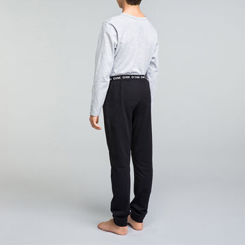 Pyjama long garçon 2 pièces gris chiné et noir - Nuit Comic, , DIM