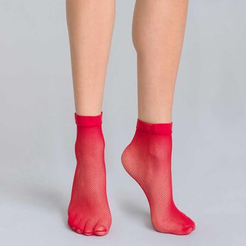 Style intense red fishnet low-cut socks - DIM