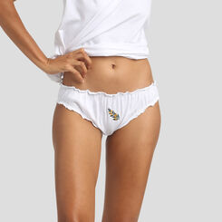 Mother's Day Edition white cotton briefs with mimosa embroidery, , DIM