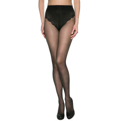 Black DIM Signature Ventre Plat 20 tummy-flattening tights, , DIM