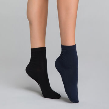 2 paires de chaussettes femme courtes noire & bleue - Dim Basic Coton, , DIM