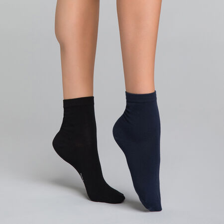 7cd9336c854 Black and blue ankle socks 2 pack for women - Dim Basic Coton
