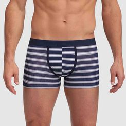 Mix and Fancy stretch cotton trunks in blue with striped print, , DIM