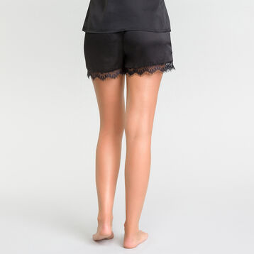 Satin black pyjama shorts with lace - Glamour, , DIM