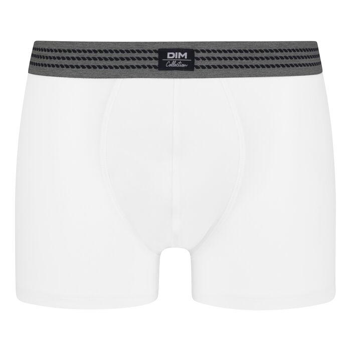 Men's stretch cotton trunks White with grey belt Dim Elegant, , DIM