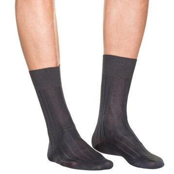 Lot de 2 chaussettes gris foncé en fil d'Ecosse Homme, , DIM