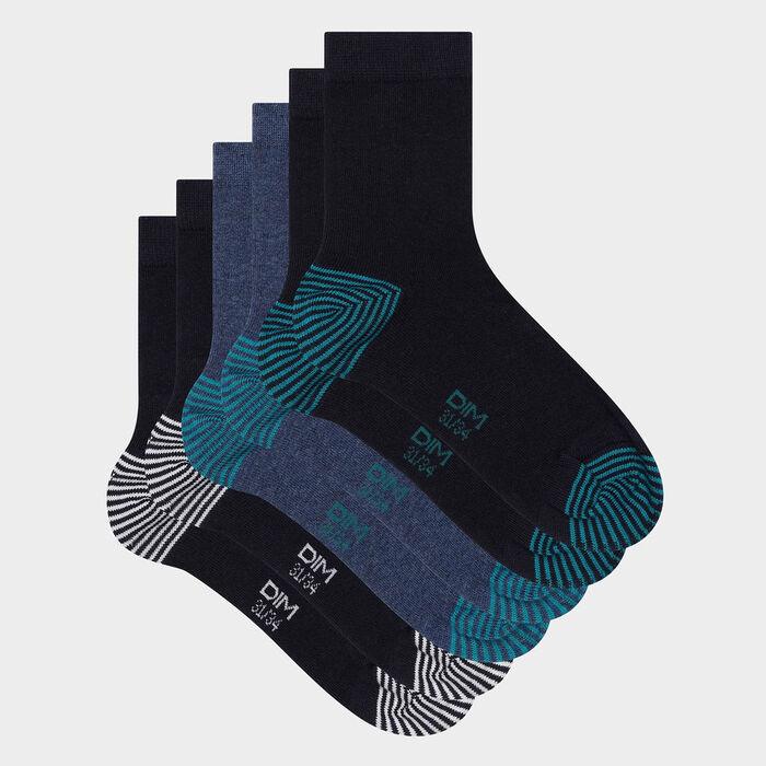 Lot de 3 paires de chaussettes enfant mix and match Marine Coton Style, , DIM