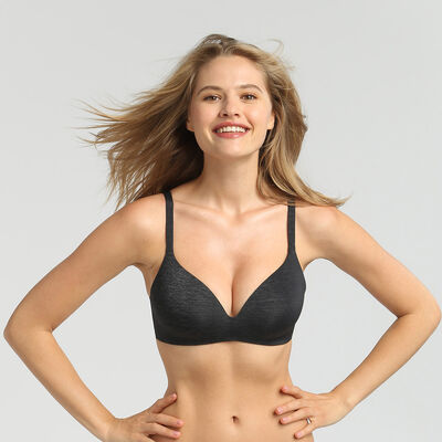 Dim InvisiFree grey wireless padded triangle bra, , DIM