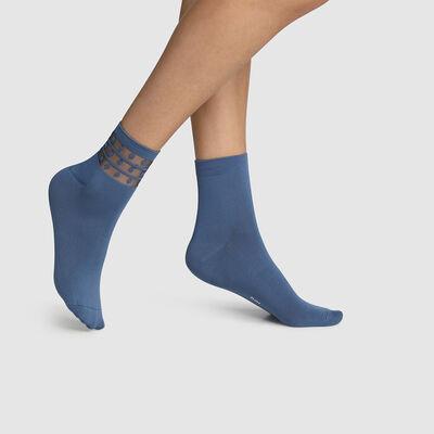 Lot de 2 paires socquettes femme microfibre tulle pois Bleu Dim Skin, , DIM
