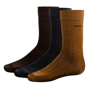 Lot de 3 paires de mi-chaussettes Marron à pois et rayures Coton Style, , DIM