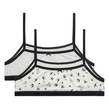 2 pack grey and birds print bras - Pocket Birds, , DIM