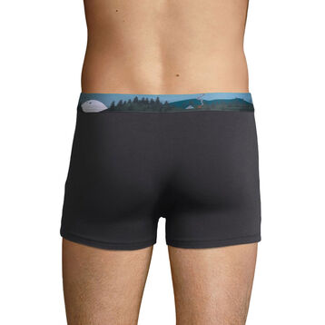 Stretch cotton trunks with printed waistband Granite Grey, , DIM