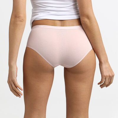 Pack of 3 pairs of Les Pockets Coton boyshorts in nude/pink/pearl, , DIM