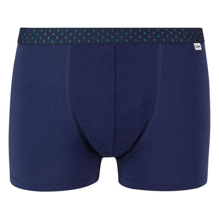 Mix and Fancy stretch cotton trunks in denim blue with diamond print waistband, , DIM