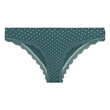 Green tanga with ivory triangles print in cotton - Table Panties, , DIM