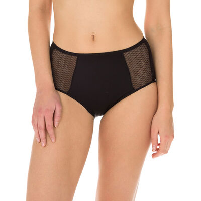 EcoDIM tummy-flattening high rise bikini knickers in black, , DIM