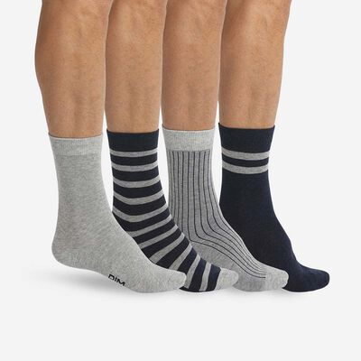 4 pack Men's socks in Heather Grey and Denim Blue Eco Dim, , DIM