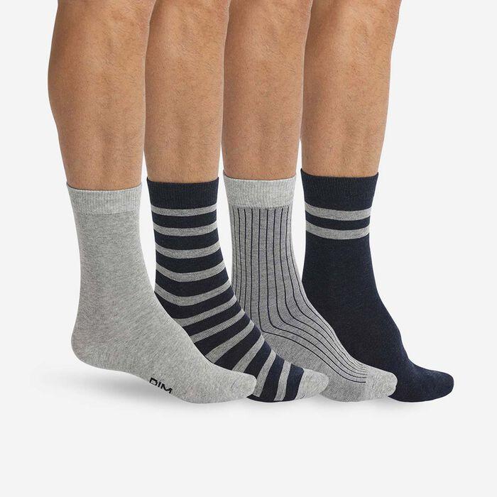 Lot 4 paires mi-chaussettes Gris Chiné et Jean pour homme Eco Dim, , DIM
