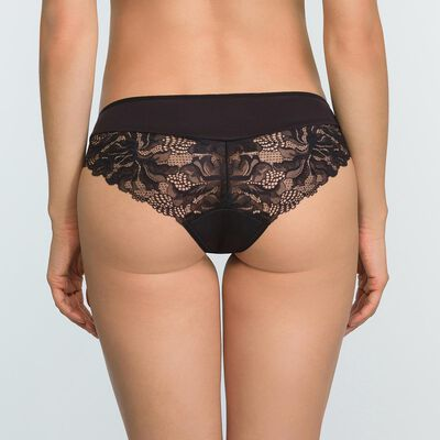 Black microfiber and lace briefs Generous Essential, , DIM