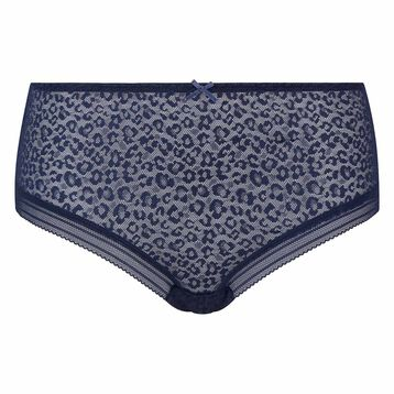 Infinite blue microfiber shorty with leopard print lace Dotty Mesh Panty Box , , DIM
