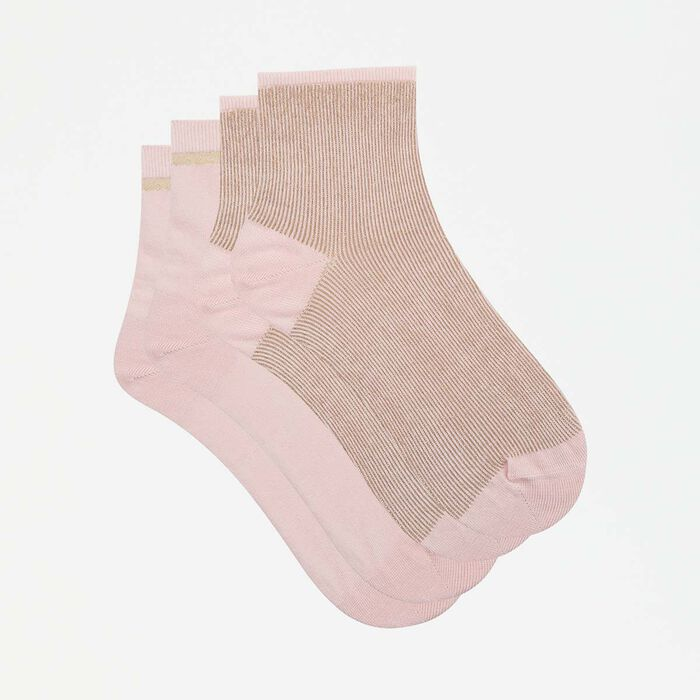 Cotton Style 2 pack fancy ankle socks in bubblegum pink lurex, , DIM