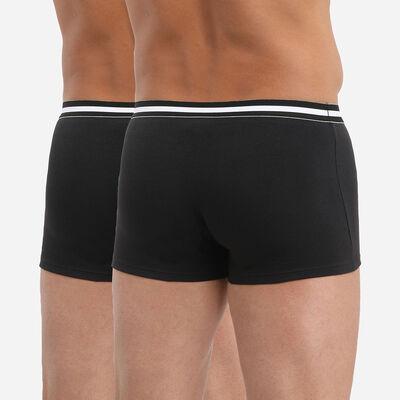 Pack of 2 pairs of black EcoDIM stretch cotton trunks, , DIM