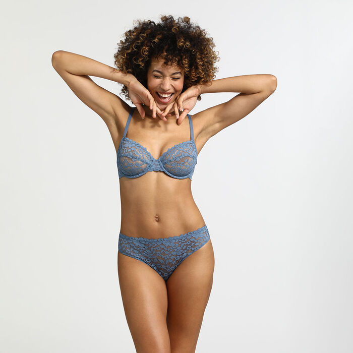 Blooming Lace Dim briefs in Antique blue lace and microfibre, , DIM