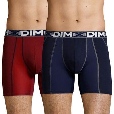 Lot de 2 boxers longs Rouge Craie et Bleu Denim 3D Flex Air pour homme, , DIM