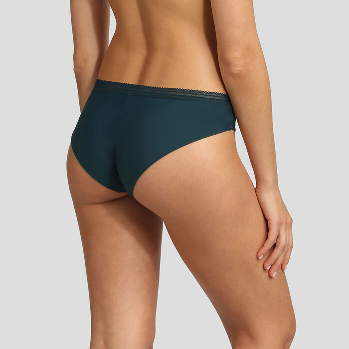 Dim Mod green microfiber and lace brief, , DIM