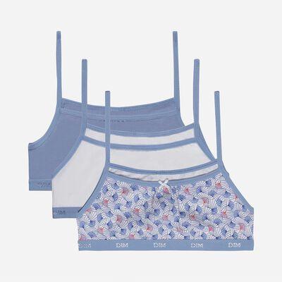 Комплект из 3 бюстгальтеров для девушек из эластичного хлопка с восковым принтом синего цвета Les Pockets, , DIM