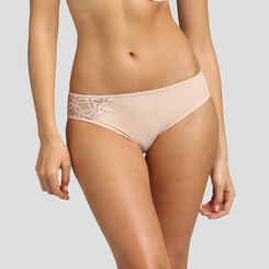 Nude pink embroidered microfiber brief Dim Generous Mod, , DIM
