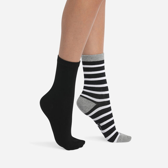 Pack of 2 pairs of light gray cotton style women's striped socks, , DIM