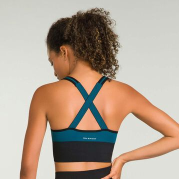 Seamless women's sport bra in Organic Blue Dim Sport, , DIM