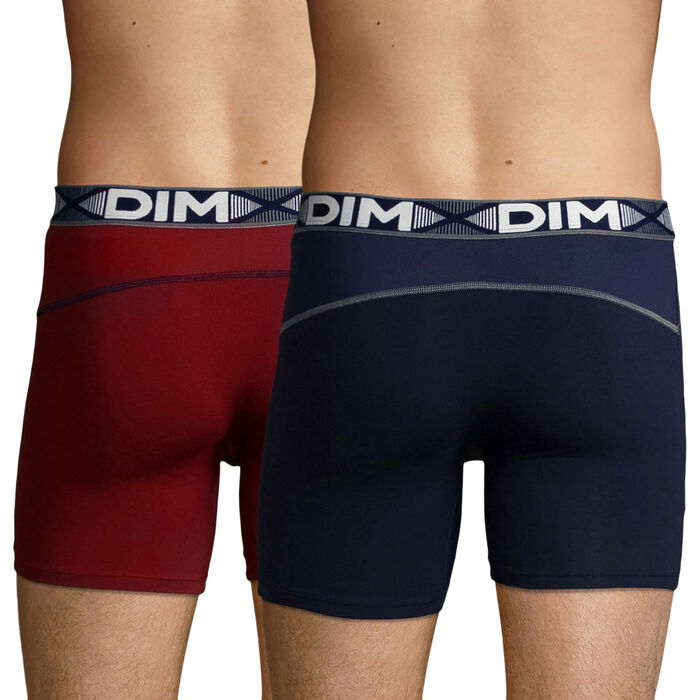 2 Pack men's long trunks Red Chalk and Denim Blue 3D Flex Air, , DIM