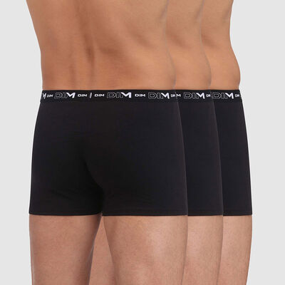 Pack of 3 pairs of black stretch cotton trunks for men, , DIM