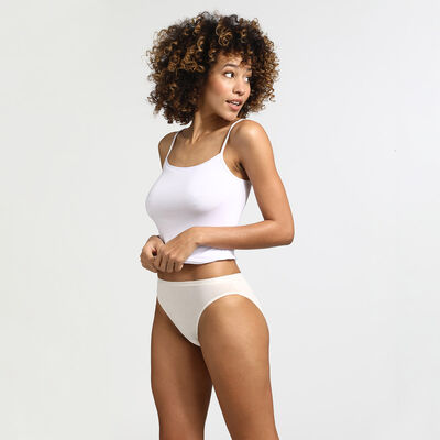 Pack of 3 pairs of Les Pockets Coton knickers in nude/pink/pearl, , DIM