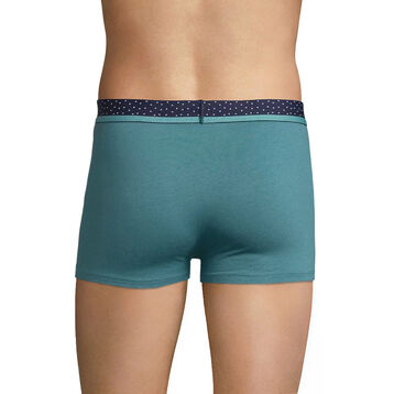 Green cotton trunks with white dots waistband - Dim Mix & Dots, , DIM