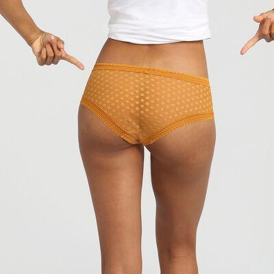 Dim Dotty Mesh Panty Box desert yellow polka dot lace shorties, , DIM