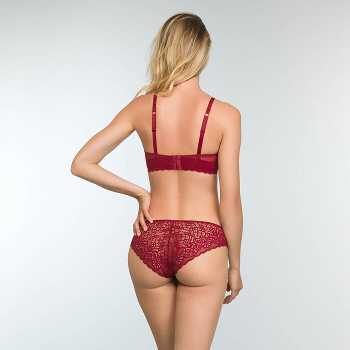 Cherry Red Lace and Microfiber Briefs Sublim Dentelle, , DIM