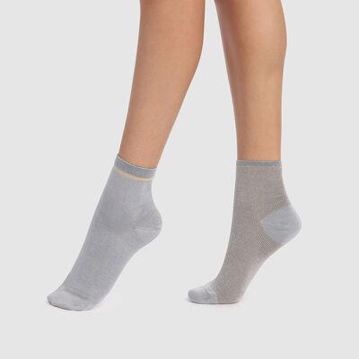 lot de 2 paires de socquettes fantaisies gris lurex or Coton Style, , DIM