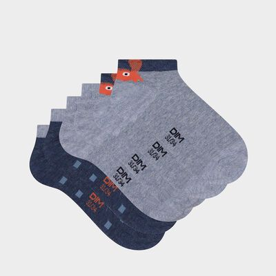 Pack of 3 pairs of crab print denim cotton crab socks for children, , DIM