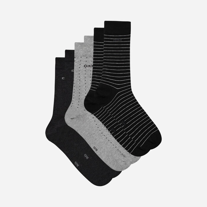 Pack of 3 pairs of men's black and charcoal dotty & striped socks, , DIM