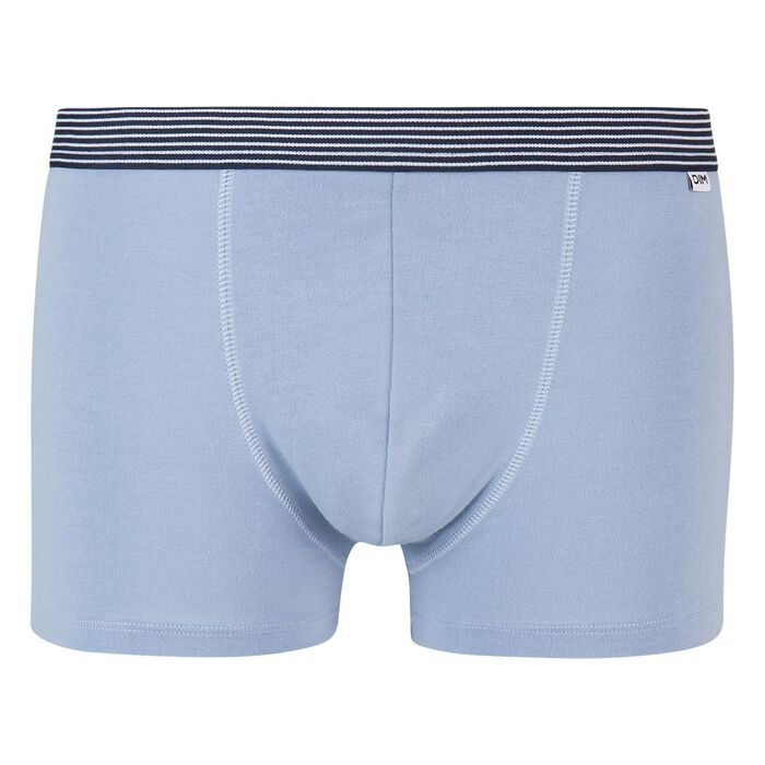 Mix and Print stretch cotton trunks in ice blue with geometric waistband, , DIM