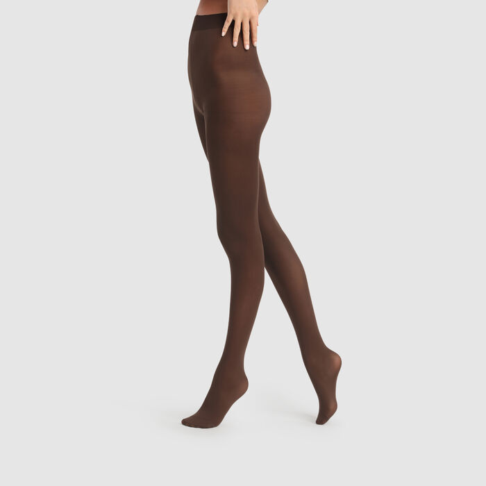 Style 50 opaque velour tights in chocolate, , DIM