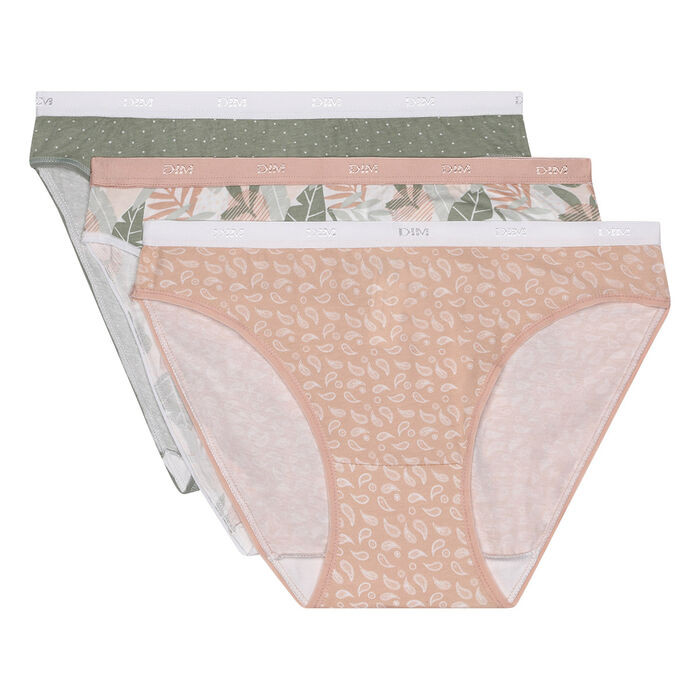 Les Pockets pack of 3 Pink Tropical Print Cotton Stretch Panties, , DIM
